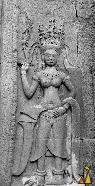 Apsara dacer, Angkor Wat, Siam Reap, Cambodia, Angkor, temple, stone carving, black and white