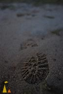Footprint, Åland, Finland, Lundhags, footprint, wet, sand, beach, walking