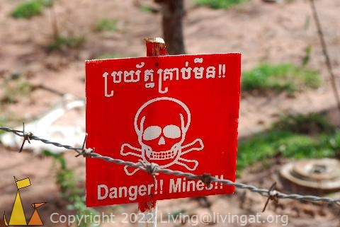 Landmine warning sign in Cambodia