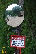 Railcars in the mirror, Black Dog, Minneapolis, USA, mirror, railroad, danger, sign, railcar